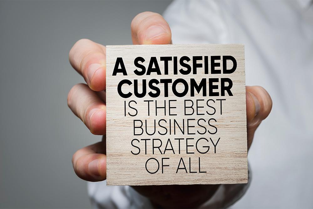 stock image of satisfied customer